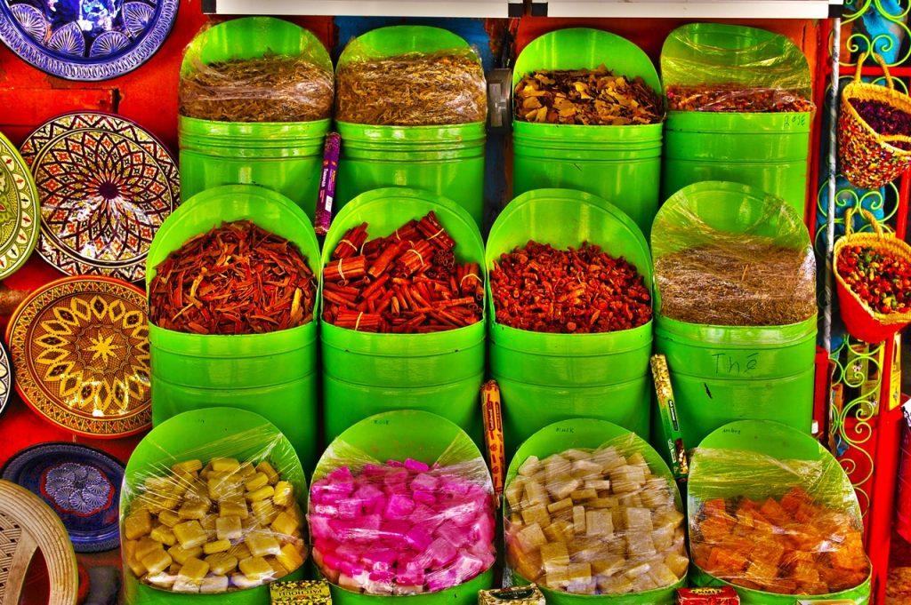 Especias en un zoco de Marruecos