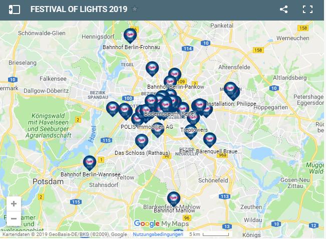 Mapa del Festival de las Luces 2019