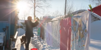 Secar ropa en Siberia