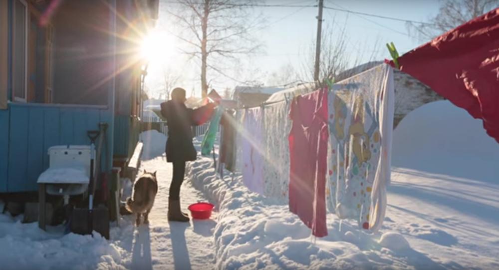 Así se seca la ropa en Siberia