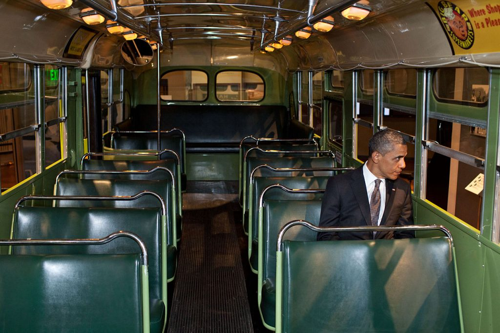 Obama en el autobús de Rosa Parks